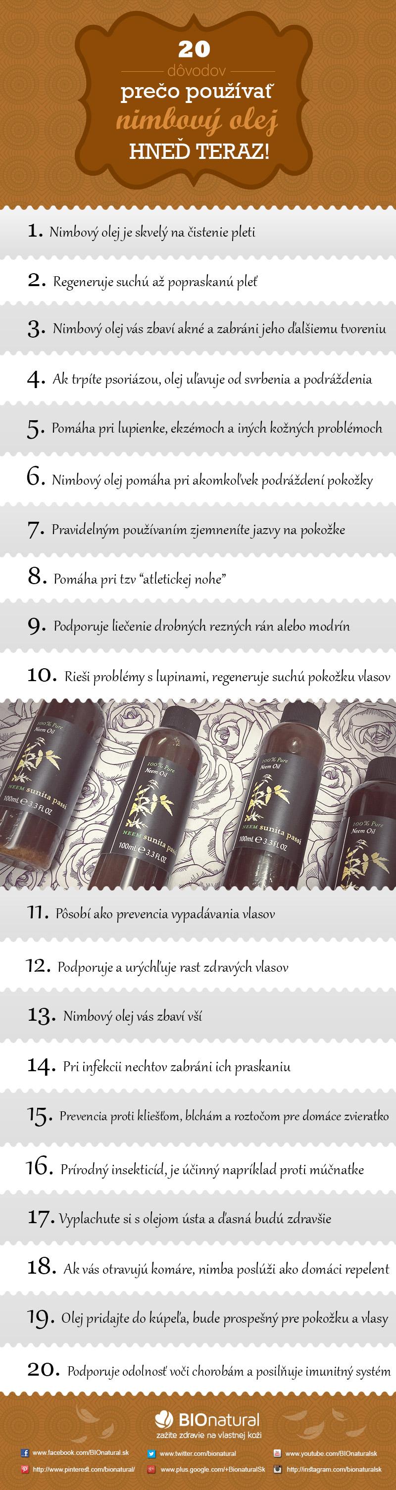 20 dôvodov, prečo začať používať nimbový olej hneď teraz! [Infografika]